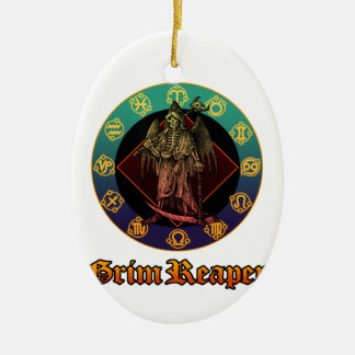 grimreaper and horoscope 2 Double-Sided oval ceramic christmas ornament