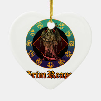 grimreaper and horoscope 2 Double-Sided heart ceramic christmas ornament