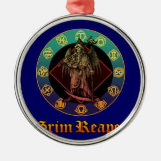grimreaper and horoscope 2 round metal christmas ornament