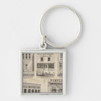 Grimshaw and Town, Minnesota Silver-Colored Square Keychain