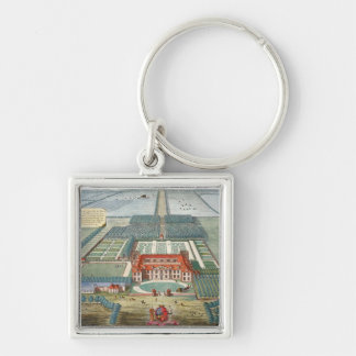 Grimsthorp in the county of Lincoln engraved by Jo Silver-Colored Square Keychain