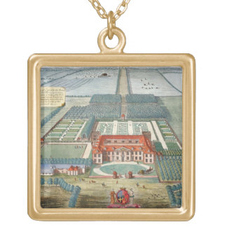 Grimsthorp in the county of Lincoln engraved by Jo Square Pendant Necklace