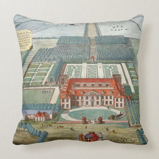 Grimsthorp in the county of Lincoln engraved by Jo Throw Pillow