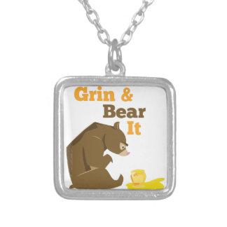 Grin & Bear It Square Pendant Necklace
