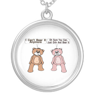 Grin & Bear It Silver Plated Necklace