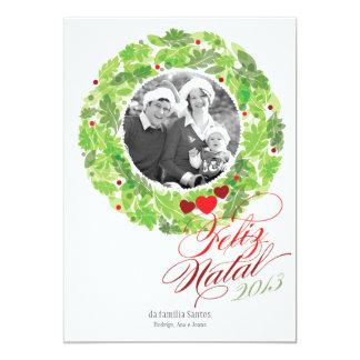 """Grinalda do feriado cartão de foto de família invitación 5"""" x 7"""""""