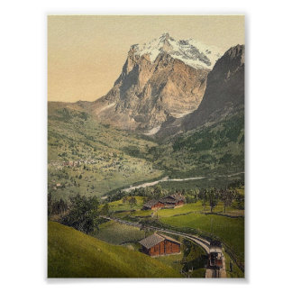 Grindelwald and Mount Wetterhorn, Bernese Oberland Poster