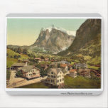 Grindelwald and Wetterhorn Mountain, Bernese Oberl Mouse Pad