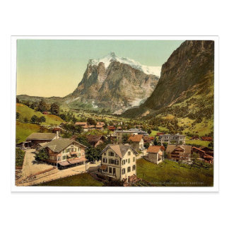 Grindelwald and Wetterhorn Mountain, Bernese Oberl Postcard