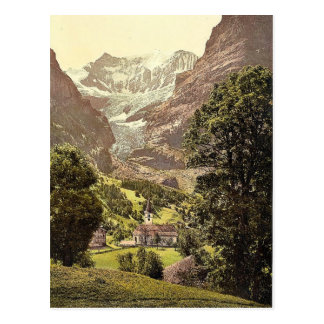 Grindelwald, church and Eiger Mountain, Bernese Ob Postcard