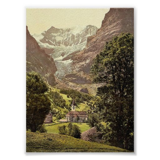 Grindelwald, church and Eiger Mountain, Bernese Ob Posters