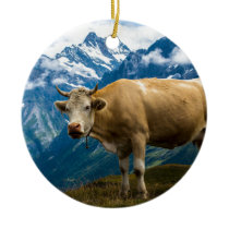 Grindelwald Cow - Bernese Alps - Switzerland Ceramic Ornament