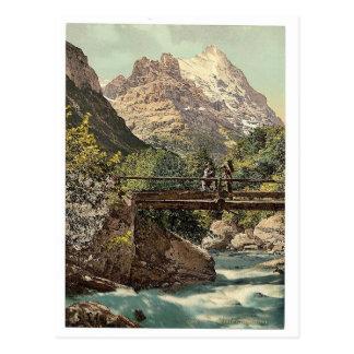 Grindelwald, footbridge and mountain peaks, Bernes Postcard