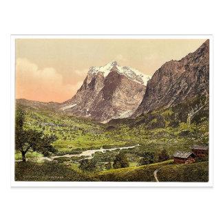 Grindelwald, general view, Wetterhorn, Bernese Obe Postcard
