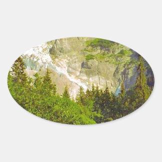 Grindelwald, glacier in summer oval sticker