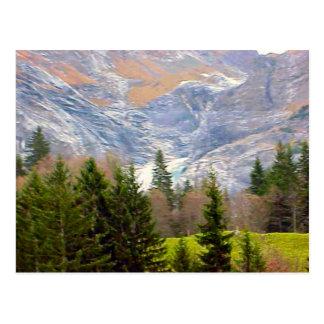Grindelwald, glaciers in summer postcard