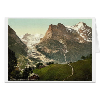 Grindelwald iglesia y Eiger Bernese Oberland S Felicitacion