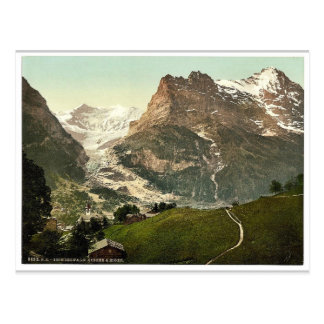 Grindelwald iglesia y Eiger Bernese Oberland S Tarjeta Postal