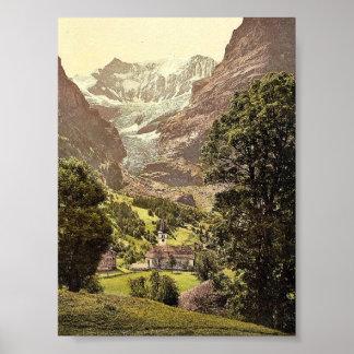 Grindelwald, iglesia y montaña de Eiger, Bernese O Póster