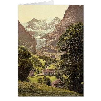Grindelwald iglesia y montaña de Eiger Bernese O Tarjeton