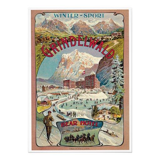 Grindelwald Winter-Sport Vintage Travel Poster Personalized Invites