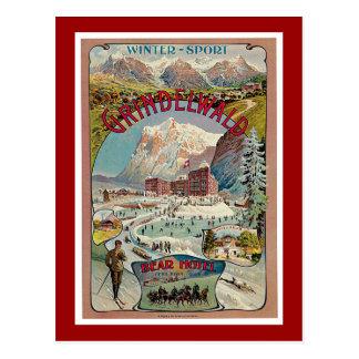 Grindelwald Winter-Sport Vintage Travel Poster Postcard