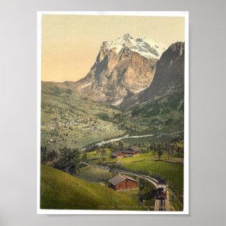 Grindelwald y soporte Wetterhorn, Bernese Oberland Póster