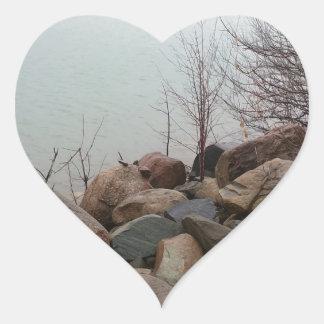 Grindstone City Autumn Fall Shoreline Sandstone Heart Sticker