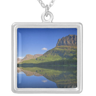 Grinnel Point and Allen Mountain reflect into Silver Plated Necklace