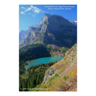 Grinnell Lake and Angel Wing Mountain Print