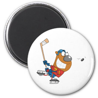 Grinning Bear Playing Ice Hockey 2 Inch Round Magnet