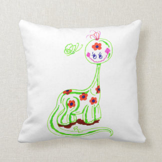 Grinning Brontosaurus (White) Throw Pillows