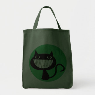 GRINNING CAT Grocery Tote Bag (green)