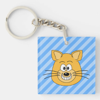 Grinning Cat. Single-Sided Square Acrylic Keychain