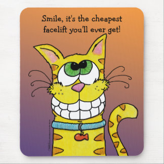 Grinning Cat Mouse Pad