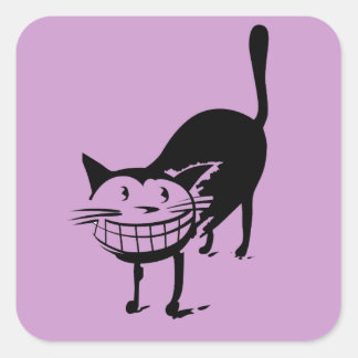 Grinning Cat Square Sticker