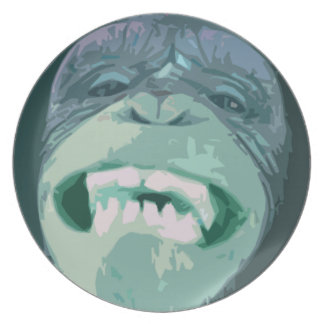 Grinning Chimp Face Plate (green)
