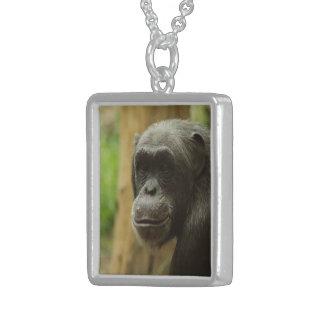 grinning chimp square pendant necklace