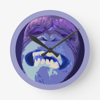 Grinning Chimpanzee Monkey face wall clock