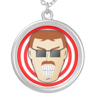 Grinning Dan Round Pendant Necklace