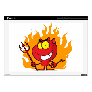 "Grinning Devil With Pitchfork 17"" Laptop Decal"