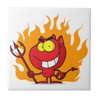 Grinning Devil With Pitchfork Ceramic Tile