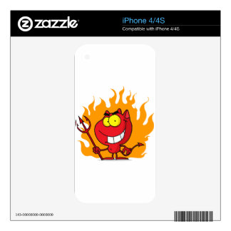 Grinning Devil With Pitchfork iPhone 4 Skins