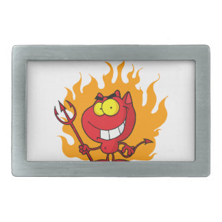 Grinning Devil With Pitchfork Rectangular Belt Buckle