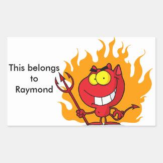 Grinning Devil With Pitchfork Rectangular Sticker