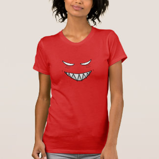 Grinning Face With Evil Eyes Female Red T-Shirt