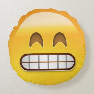 Grinning Face With Smiling Eyes Emoji Round Pillow