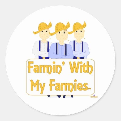 Grinning Farmies BRB Blue Pants Farmin With My Far Round Sticker