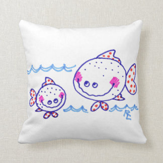 Grinning Fishies (White) Throw Pillow