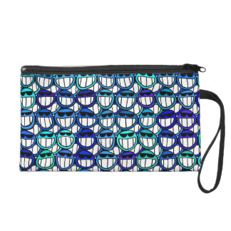 Grinning Funny Blue Smiley Face Pattern Wristlet Purse